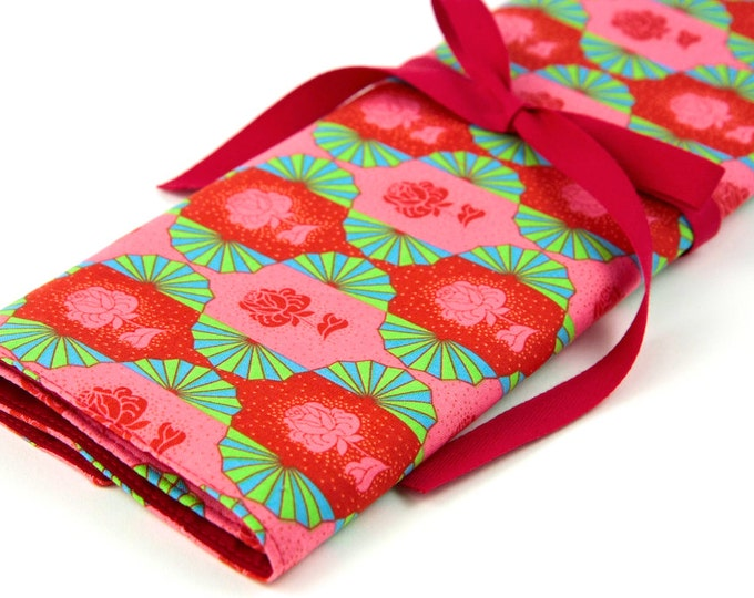 Featured listing image: Knitting Needle Case, Dresden Sunset, 30 Red Pockets Large Organizer Storage