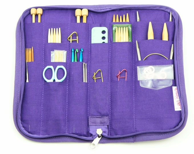 Featured listing image: Travel Zip Around Knitting Needle Organizer - City Lights - purple pockets