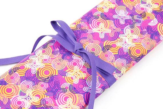 Knitting Needle Case, Frenzy, 30 purple pockets for straights, circulars, dpns, Needle Storage, Knitting Needle Organizer
