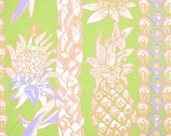 BOGO Sale Fabric - Pineapple Lei by Alfred Shaheen Hawaiian Prints - by the yard - Buy 1 yard get second free