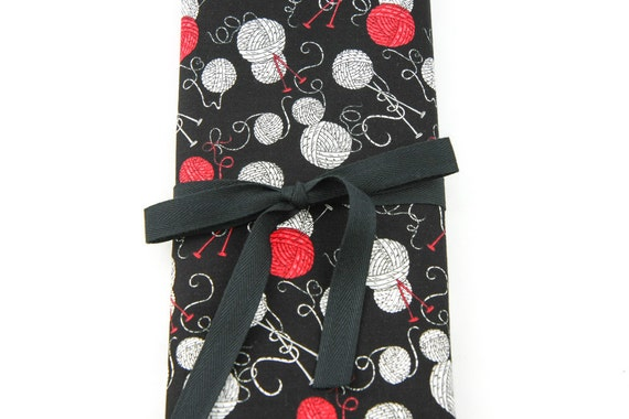 SHORT Knitting Needle Organizer Case - Yarn Balls - 24 black pockets for circular, double pointed, interchangeable or travel