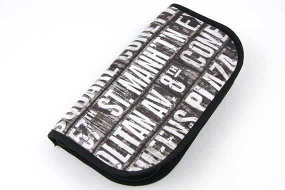 Travel Zip Around Knitting Needle Case Organizer - Subway - black pockets notions zipper
