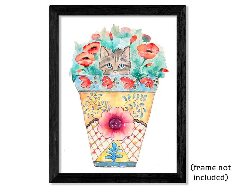 Illustrated by Rachel Baum. Original Watercolor Fine Art Print Contemporary wall decor Peekaboo cat in flower pot Kitty /& Poppies