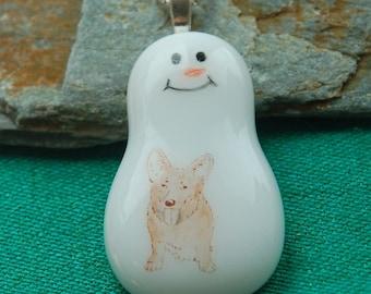 Corgi  Dog Breed Jewelry Snowman Necklace