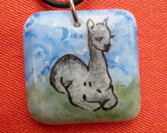 Alpaca Necklace Hand Painted Fused Glass
