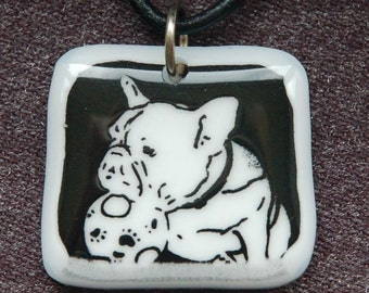 French Bulldog Etched Glass Necklace