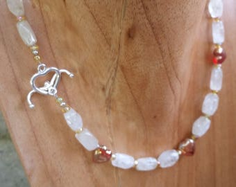 Necklace & Bracelet   Pet and Owner set   Beads   Red Glass Hearts