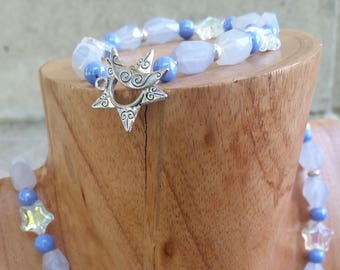 Necklace & Bracelet   Pet and Owner set   Beads   Blue Chalcedony and Stars