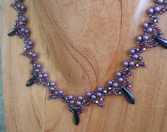 Necklace   Handmade   Beaded   Purple with Daggers