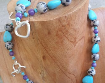Necklace & Bracelet   Pet and Owner set   Beads   Turquoise Hearts