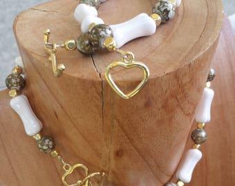 Necklace & Bracelet   Pet and Owner set   Beads   Ceramic Bones