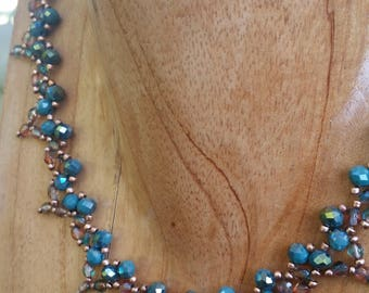 Necklace   Handmade   Beaded   Teal and Copper Glass