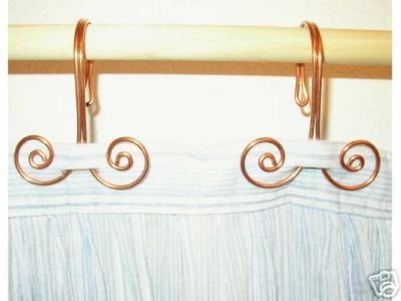 12 Handcrafted Solid Copper Swirl Shower Curtain Hooks Home