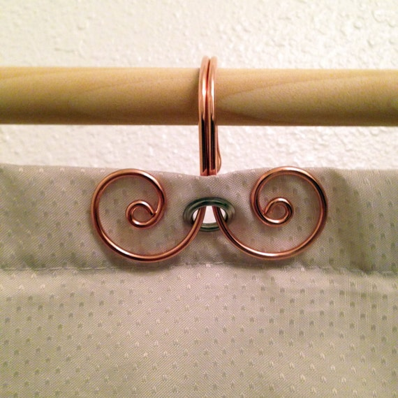 12 Handcrafted Solid Copper Short Swirl Shower Curtain Hooks Home Decor Metalwork