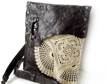 Dark Brown Distressed Leather Boho Messenger with Vintage Crochet Doily and Antique Key - Medium One Of A Kind