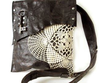 Brown Distressed Leather Boho Messenger Bag with Vintage Crochet Doily and Antique Key - Medium One Of A Kind