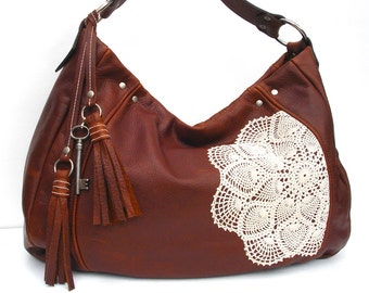 Leather Hobo Bag with Tassels, Vintage Crochet Lace Doily and Antique Key - Extra Large Boho Purse - MADE TO ORDER