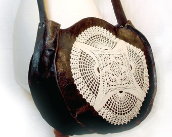 Brown Leather Crossbody Boho Bag with Vintage Crochet Lace Doily and Small Skeleton Key - Round Leather and Lace Purse MADE TO ORDER