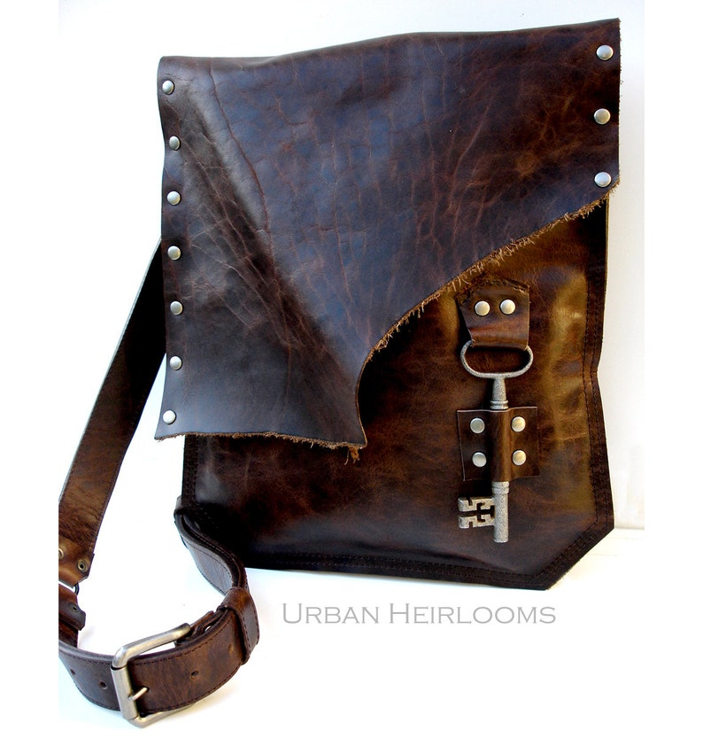 3140f2cc26 Rustic Brown Leather Messenger Bag with Antique Skeleton Key
