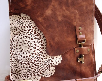 Leather Boho Messenger Bag with Antique Key and Crochet Lace Doily - Large Working Key Style - MADE TO ORDER