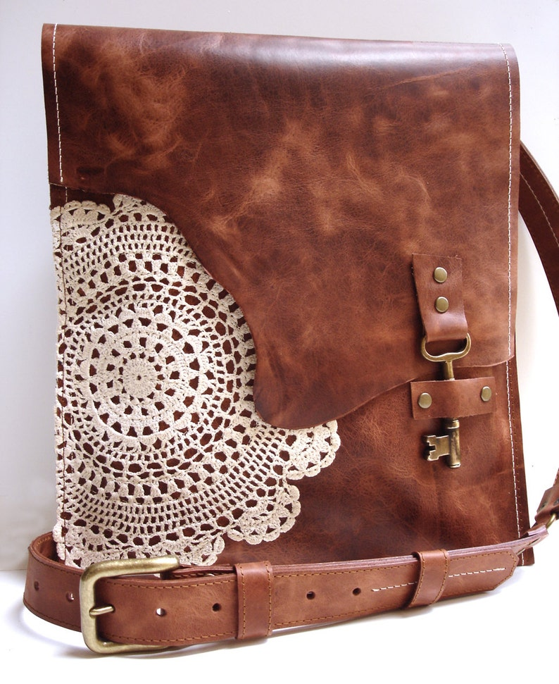 72db07e91a Leather Boho Messenger Bag with Antique Key and Crochet Lace