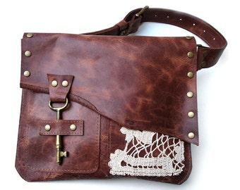 Boho Leather Hip Bag with Vintage Crochet Doily and Antique Key - MADE TO ORDER - Fanny Pack Festival Utility Belt Bag
