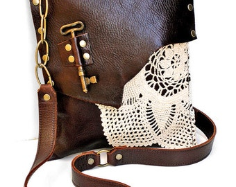 Brown Leather Boho Messenger Bag with Crochet Doily and Antique Key - Medium One Of A Kind - MADE TO ORDER