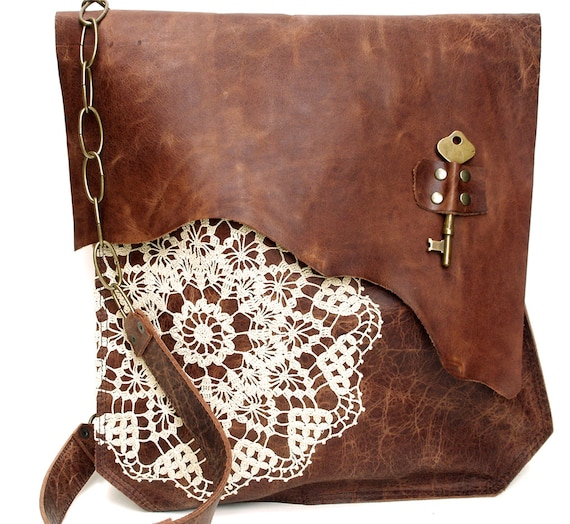 XL Boho Leather Messenger Bag with Crochet Lace & Antique Key - MADE to ORDER