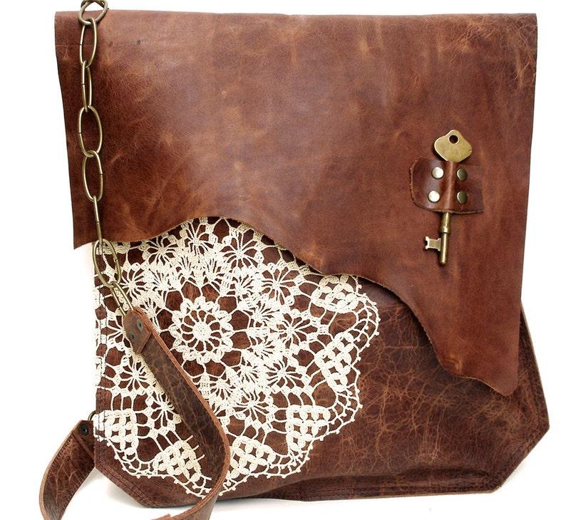 11db1cf48d XL Boho Leather Messenger Bag with Crochet Lace   Antique Key