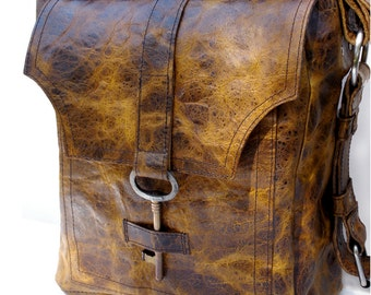 Brown Leather Messenger Bag with Antique Key - The Sojourner Rustic Unisex Book Bag Overnight Carry On Travel - MADE TO ORDER