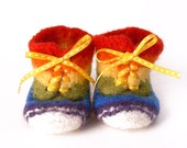 felted high top baby shoes - rainbow stripe - size 1, 0-3 months