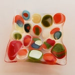 Small Fused glass dish -multicolored circle pattern - candle holder - Decorative dish - Dresser Caddy - organic square