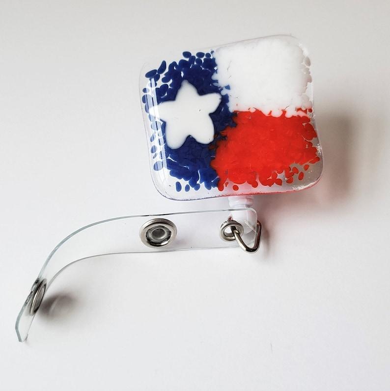 Fused glass badge reel  ID tag reel  ID badge  Texas flag image 0