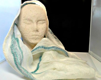 nuno wet felted white and blue gauzy wool and silk scarf