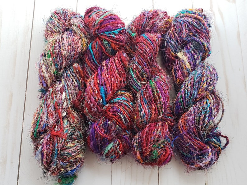 single skein of multicolored recycled sari silk yarn from image 0