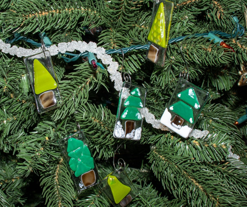 Fused glass Christmas ornaments  holiday decor  glass fusion image 0