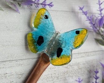 Glass Butterfly Garden Stake, Fused Glass Butterfly, Decorative Plant Stakes, Insect Decoration, Bug Decor, Gift for Gardener