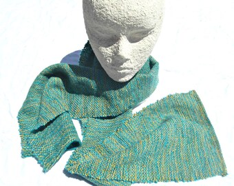 Handwoven yellow, turquoise and green wool scarf to keep you warm.