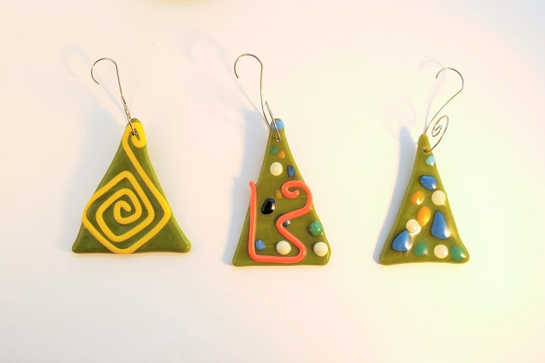 make your own Set of 3 fused glass Christmas ornaments  fused image 0