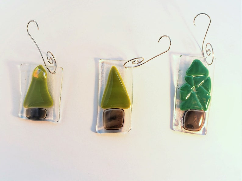 Set of 3 fused glass Christmas tree ornaments  fused glass image 0