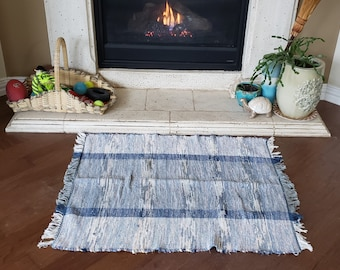 Handwoven Rag Rug, Blue striped, recycled cotton,  Country Cottage Decor, farmhouse style..