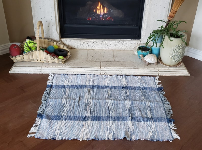 Hand woven rag rug  recycled fabric mat  upcycled country image 0