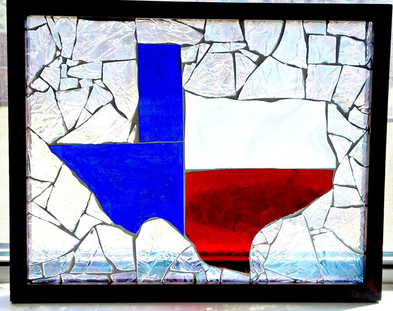 Glass Mosaic State of Texas upcycled frame sun catcher wall image 0