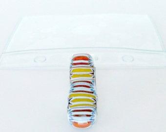 Fused glass Plastic ID Badge holder w/Metal Clip - fused glass badge holder clips -stripes- stars- orange- yellow- ID badge - ID accessory