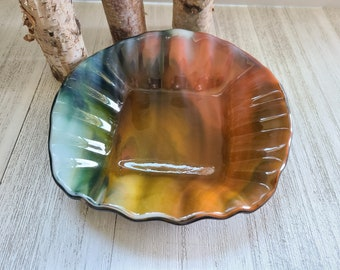 Fused Glass Bowl, Wavy Glass Bowl, Glass Candy Dish, Large Candle Holder, Fruit Bowl