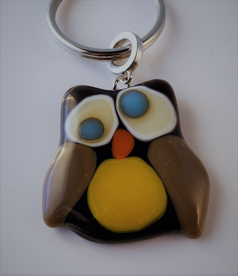 Glass fused owl pendant  owl jewelry  fused glass owl  image 0