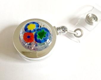 Fused glass badge reel - badge reel - ID tag reel - ID badge - retractable badge reel - retractable fused glass badge holder - flower