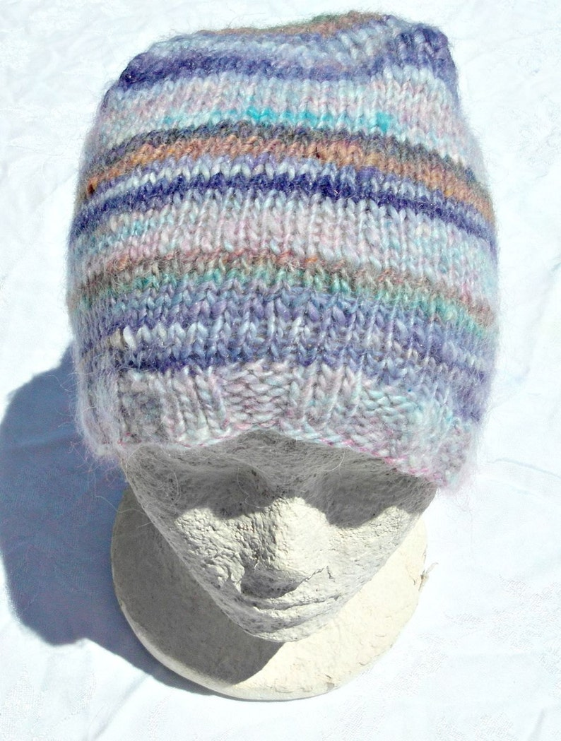 hat  hand knit hand spun skull cap  bright knitted hat  image 0