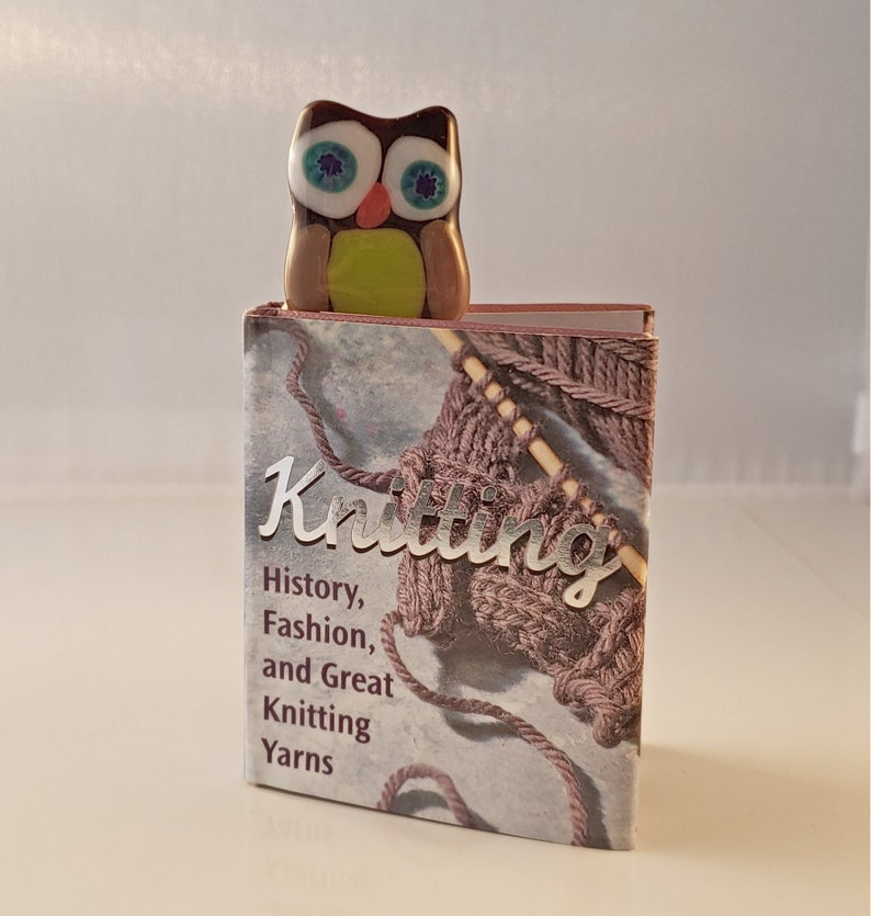 Fused glass owl bookmark  brown owl book mark  blue eyed owl image 0