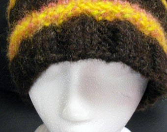 knitted hat made with handspun wool yarn natural wool